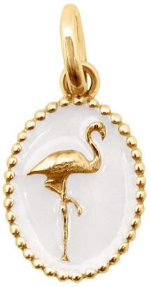Gigi Clozeau White Resin Flamingo Charm - Yellow Gold