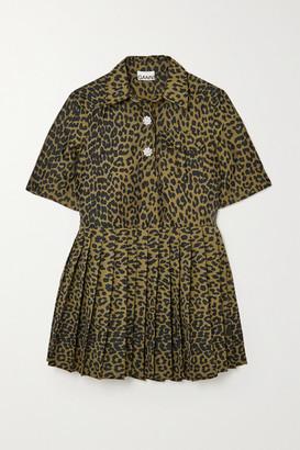 Ganni Crystal-embellished Pleated Leopard Jacquard Mini Dress