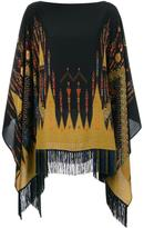 Etro embroidered fringed poncho - women - Silk/Acetate - One Size