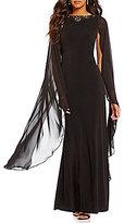 Sangria Beaded Neckline Cape Sleeve Gown