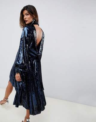 Asos Edition EDITION drape sequin midi dress with open back-Navy