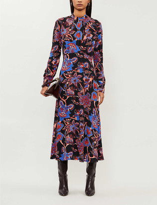 Whistles Ruby Trailing Bloom graphic-print crepe midi dress