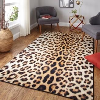 Mohawk Home Prismatic Cheetah Spots Neutral Transitional Animal Print Kids Precision Printed Area Rug, 8'x10', Tan & Brown