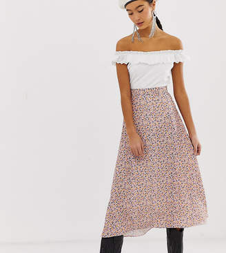New Look midi skirt in ditsy floral print-Pink