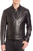 HUGO BOSS Zip-Front Leather Jacket