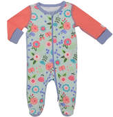 Baby Starters Light Aqua & Coral Floral Footie - Infant