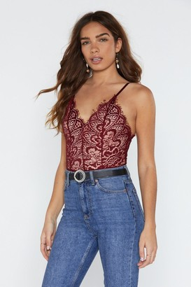 Nasty Gal Womens Lace to the Top Bodysuit - Red - S