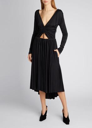 Proenza Schouler White Label Slinky Jersey Long-Sleeve V-Neck Dress