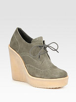 Pierre Hardy Lace-Up Suede Wedge Platform Oxfords
