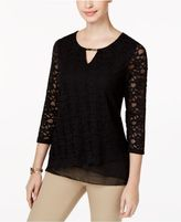 JM Collection Layered-Hem Lace Top, Created for Macy's