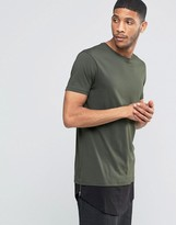 Asos Super Longline T-Shirt With Curved Hem Extender And Side Zips In Army Green