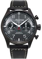 Alpina Al-860gb4fbs6 Startimer Pilot Chronograph Blackstar Leather Strap Watch, Black/dark Grey