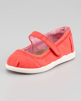 Toms Canvas Mary Jane Slip-On, Red, Tiny