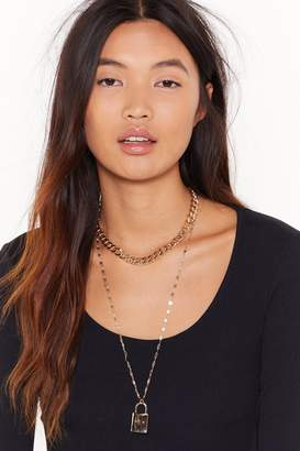 Nasty Gal Womens Lock at Her Go Layered Pendant Necklace - metallics - One Size