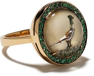 Francesca Villa 18kt Yellow Gold Bird Emerald Ring