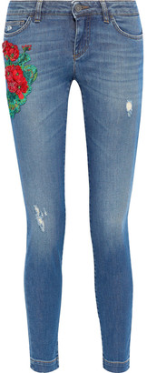Dolce & Gabbana Appliqued Distressed Mid-rise Skinny Jeans