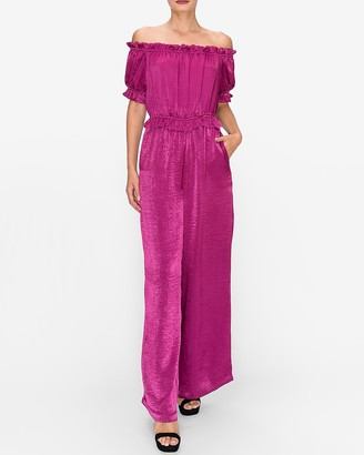 Express Endless Rose Satin Off The Shoulder Jumpsuit