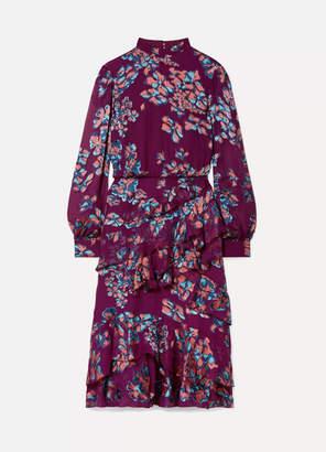 Saloni Isa Ruffled Floral-print Devore-chiffon Midi Dress - Plum