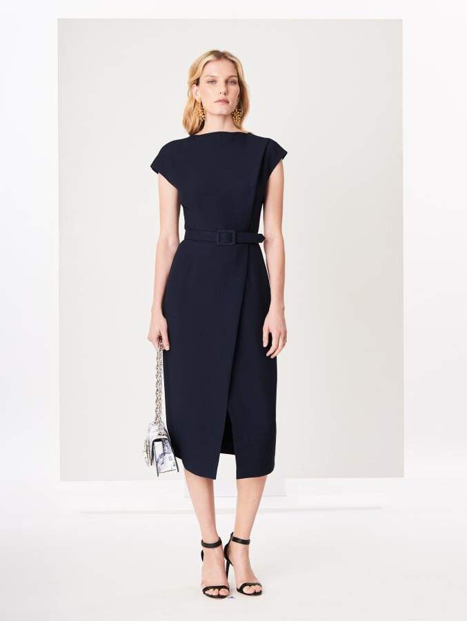 Oscar de la Renta Silk-Wool Crepe Dress