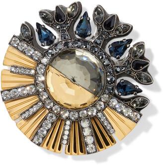 Lanvin Gold And Gunmetal-tone Crystal Brooch