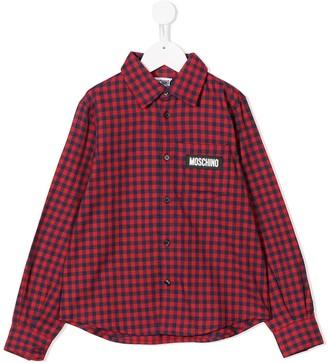 MOSCHINO BAMBINO Check Pattern Logo Shirt