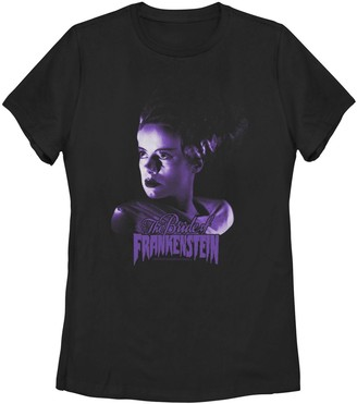 "Licensed Character Juniors' Universal Monsters ""The Bride Of Frankenstein"" Purple Hue Portrait Tee"