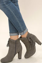 Bamboo Effie Taupe Suede Ankle Booties