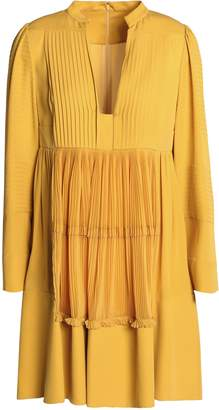 Valentino Plisse-paneled Silk Crepe De Chine Mini Dress