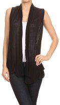 Vialumi Women's Juniors Solid Sleeveless Draped Cardigan Vest