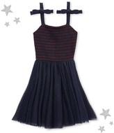 Petit Bateau Girls dual material strap dress
