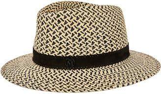 Maison Michel Andre Bicolor Straw Fedora Hat