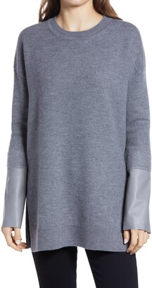 AllSaints Essy Leather Cuff Wool Sweater