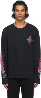 Rhude Black Neon Flame Long Sleeve T-Shirt