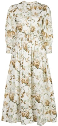 Oscar de la Renta Belted Long Sleeve Dress