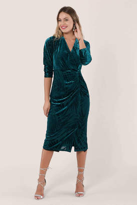 Closet London Teal Velvet Leaf Print Wrap Dress - nylon | teal blue | 12 - Teal blue