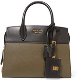 Prada Esplanade Small Two-tone Textured-leather Tote