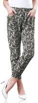 Allegra K Lady Allover Floral Paisley Print eometric Jogger Pants Beige Black M