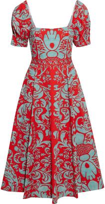 Alice + Olivia Fredia Flared Printed Cotton-blend Midi Dress