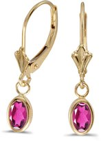 Direct-Jewelry 14k Yellow Gold Oval Topaz Bezel Lever-back Earrings