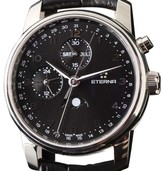 Eterna Soleure Moon Phase Stainless Steel & Leather 42mm Watch