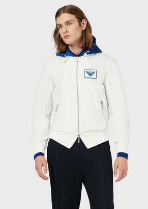 Emporio Armani Blouson With Mesh Hood And Logo Patch