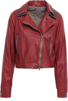 Brunello Cucinelli Cropped Bead-embellished Leather Biker Jacket