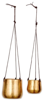Nkuku Atsu Brass Hanging Planter Small