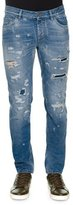 Dolce & Gabbana Distressed Denim Jeans with Embroidered Bee, Light Blue