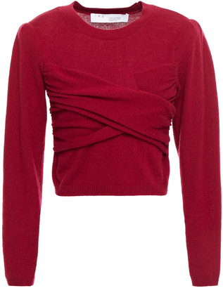 IRO Cropped Crossover Cotton And Cashmere-blend Sweater