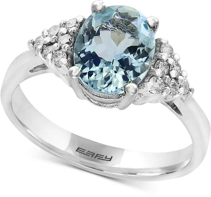 Effy Aquarius Aquamarine (1-3/4 ct. t.w.) and Diamond (1/6 ct. t.w.) Ring in 14k White Gold
