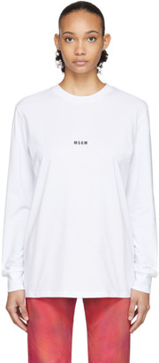 MSGM White Micro Logo Long Sleeve T-Shirt