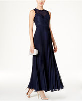 Xscape Evenings Illusion Lace Pleated Chiffon Gown