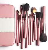 WIMKEN GYF- Professional Makeup Brushes Kit 12Pieces Goat Hair Make up Brushes in Pink Leather Bag
