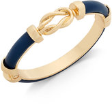 Charter Club Gold-Tone Navy Blue Faux-Leather Knot Hinged Bangle Bracelet, Only at Macy's